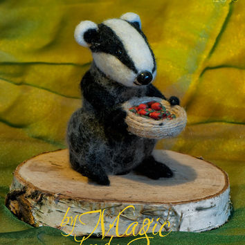Felted badger, felt animal, wool toy, exotic creature
