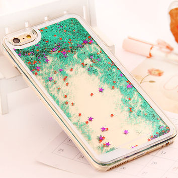 Cover For iphone 6 6 Plus Dynamic Liquid Glitter  Sand Quicksand Star Case For iphone 6 6s Plus Crystal Clear Phone Back