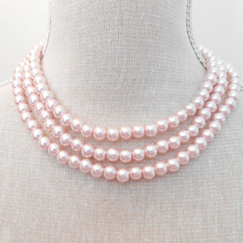 Pale Pink necklace, Pearl necklace, Long necklace, Wedding jewelry, Wedding necklace,  Bridesmaid necklace, Valentine gift, Mothers day