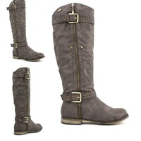 WOMENS LADIES LOW HEEL FLAT BIKER RIDING ZIP WIDE CALF KNEE BOOTS SIZE