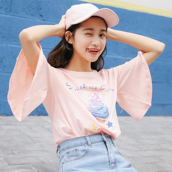 Women'S Japanese Harajuku Ice Cream Beads Printed Small Stars Punk T-Shirt Female Bow Tie Flare Sleeves Student Ulzzang Tshirt
