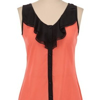 Ruffle Button Front Tank