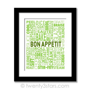Bon Appetit Kitchen Wall Art - Choose Any Colors - twenty3stars