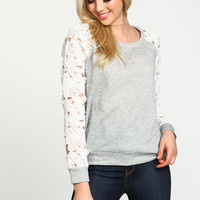 Grey Floral Crochet Sleeves Knit Pullover