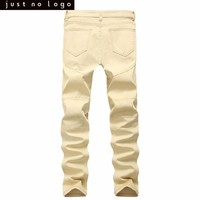 Men Khaki Skinny Ripped Biker Denim jeans