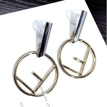 FENDI Stylish Ladies Simple F Circular Pendant Earrings Accessories Jewelry