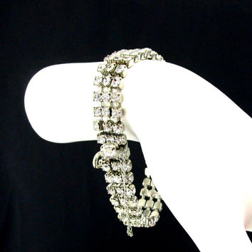 Bracelet Rhinestone Three Row Safety Chain