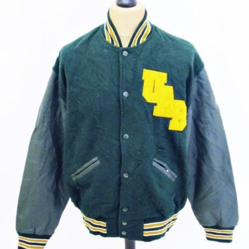 Vintage 1980s VARSITY Baseball Jacket Heavy Wool / Leather Large