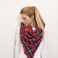 blanket scarf zara tartan scarf - red and black plaid