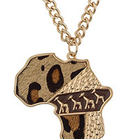 Goldtone with Brown Africa with Animal Print Fur and Giraffes Pendant with an Adjustable 30 Inch Cuban Necklace