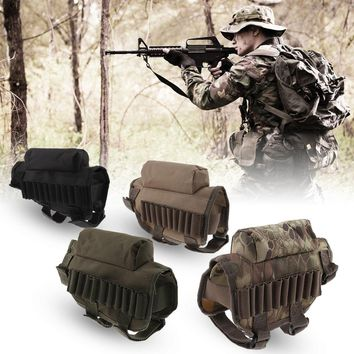 Military Tactical Crown Pouch Carrying Case 7 Shells Pouch Bullet Holster Tactical Buttstock Cheek Rest with Ammo Carrier