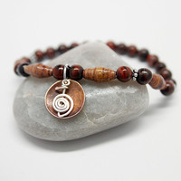 Reiki Bracelet with Power Symbol, Red Tiger Eye & Brown Paper Beads, Holistic jewelry