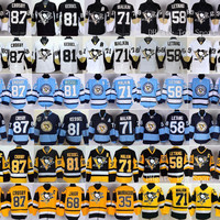 Pittsburgh Penguins 87 Sidney Crosby Jerseys Ice Hockey Throwback 58 Kris Letang 71 Evgeni Malkin 81 Phil Kessel 66 Mario Lemieux Black