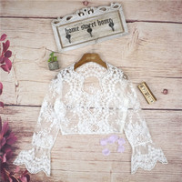 2017 Summer Lace Long Sleeve Crop Top Bralette Tops Blouse [10454786639]