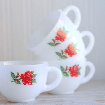 Vintage Rosecrest Tea Cups, White Milk Glass with Red Roses, Set of 4 Federal Glass Tea Cup Set, Vintage Christmas Tea Party, Flowers Floral