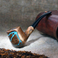 "Smoking pipe""Lightning ""with Turquoise -Mini Pipe-Tobacco smoking pipe - Pipe-Wooden pipe-Tobacco bowl - Wooden Pipes -Exclusive Wood Pipes"