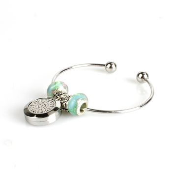 Stainless steel Bangles Essential Oil Diffuser Bracelet With 6 Free pads