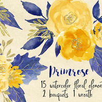 Primrose | floral separate elements, yellow, navy blue, floral wreath, flower wreath, yellow rose, watercolor wreath, wedding wreath design