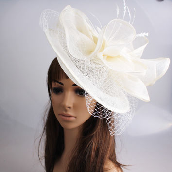 Fancy color sinamay fascinator headwear   feather bridal veils party show hair accessories millinery cocktail hat MYQ112