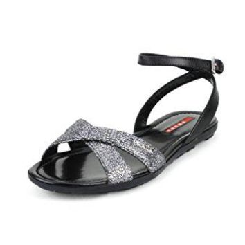 Prada Women's Glitter Detail Crisscross Flat Sandals, Black