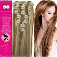 """20"""" Clip in Synthetic Hair Extensions Light Brown with Bleach Blonde 7pcs 70g:Amazon:Beauty"""