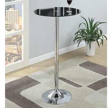 Kossini collection contemporary style black glass top round bar table with chrome base