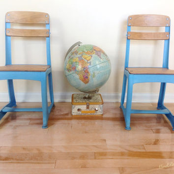 Vintage School Chairs - Set of Two - 1950's