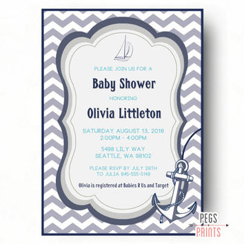 Nautical Baby Shower Invitation Boy - Printable Nautical Baby Shower Invites - Ahoy Its a Boy Invitation - Ahoy Its a Boy Baby Shower Invite