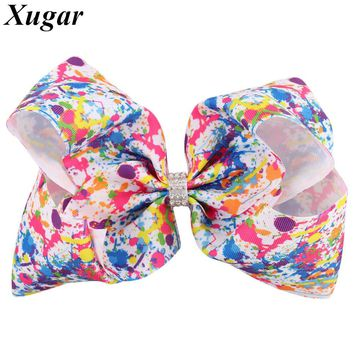 7 Inch Colorful Graffiti Printed Bowknot Hairpins for Kids Dance Party Girl Jumbo Hair Bows with Rhinestone Hair Accessories