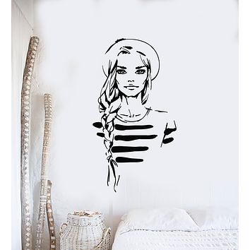 Vinyl Wall Decal Fashion Beauty Girl Makeup Salon Marine Style Stickers Mural (g1646)