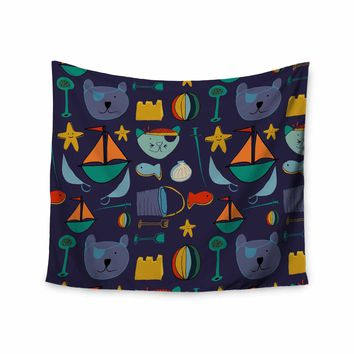"""Bruxamagica """"Cat And Bear Pirates Purple"""" Purple Yellow Mixed Media Wall Tapestry"""