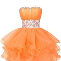 Sunavry Sweety 16 Cocktail Pageant Dress Homecoming Prom Gowns Short- US Size 4- Pink