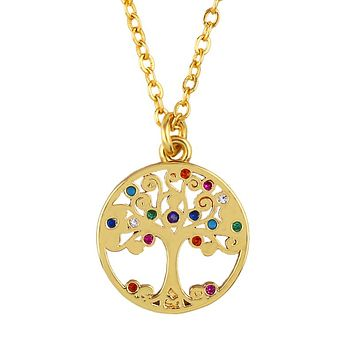 Rainbow Swarovski Elements Pav'e Tree Of Life Necklace in 18K Gold Filled