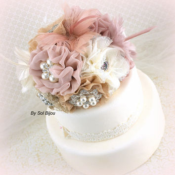 Brooch Cake Topper- Fabric Flower Topper Wedding Cake Topper in Blush Pink, Dusty Rose, Champagne and Ivory with Lace, Pearls and Feathers