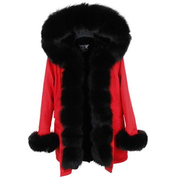 parka 2017 winter jacket women fur coat natural real fox fur collar thick warm long parkas big fur outerwear Detachable