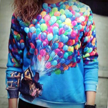 Up Disney Pixar House and Balloons Crewneck Sexy-Sweater