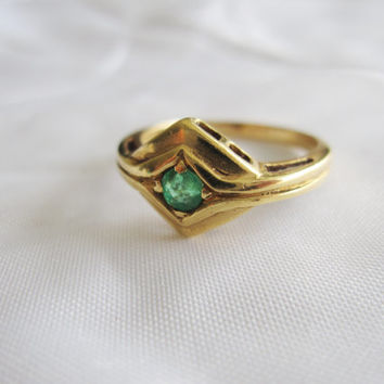 18k Estate Vintage Natural Emerald 18ct 750 Yellow Gold Art Deco Edwardian Geometric Engagement May Birthstone Ring Something Old