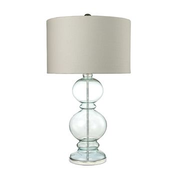 D2556 Curvy Glass Table Lamp in Light Blue With Textured Linen Shade