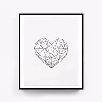 Geometric Heart, Modern Printable Scandinavian Poster Canvas Art Oil Paintings Wall Picture for Living Room Home Decor No Frame