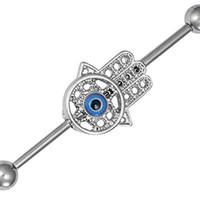 "14g Surgical Steel 1.5"" Hamsa Hand Industrial Barbell with 5 mm Balls"