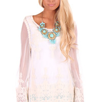 White Sheer Lace Bell Top