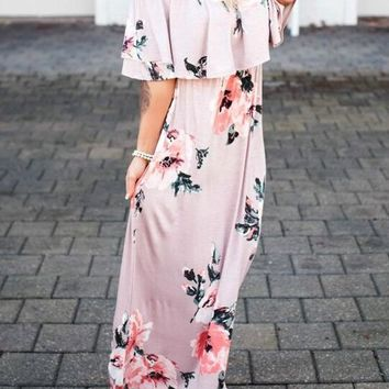 Pink Floral Draped Ruffle Boat Neck Short Sleeve Maxi Dress