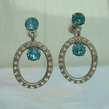 Aqua Rhinestone Hoop Dangle Screw Earrings Fabulous Vintage Jewelry