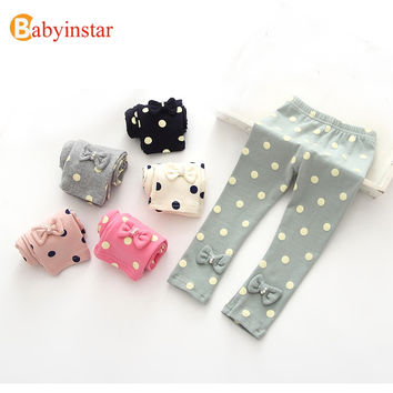 Babyinstar Cute Kid's Legging Outfits Children's Clothing For Girls Dot Printed Leggings With Bow 2017 New