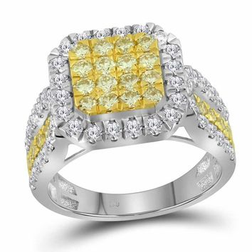 14kt White Gold Women's Round Canary Yellow Diamond Square Cluster Ring 1-3-4 Cttw - FREE Shipping (US/CAN)