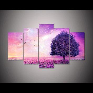 Dreamy Pink Purple Tree Poster Flower Picture For Living Room Wall Art