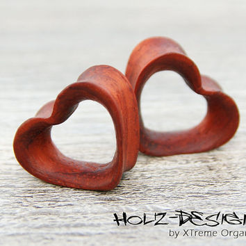 20 - 60mm Pair Wooden Heart Flesh Tunnel wood ear plugs gauge handmade piercing ear jewelry for stretched earholes