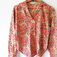 Wms Vintage 1960s Red Paisley Lady Manhattan Button Down Bell Sleeve Shirt Sz 12