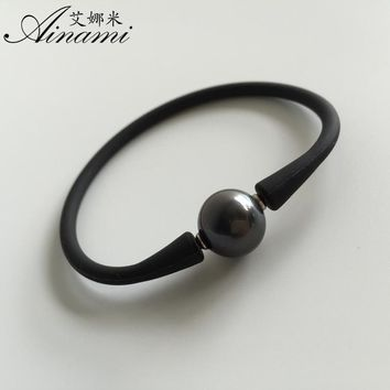 [Ainami] Best Gift For Husband Man Bangle Men Bracelet 10-11mm Black Tahitian Pearl Bracelet for