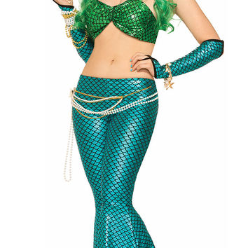 Blue Green Mermaid Cosplay Costumes